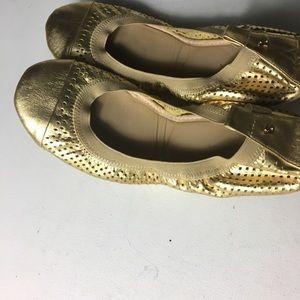 Yosi Samra YS women's gold flats leather shoes S11